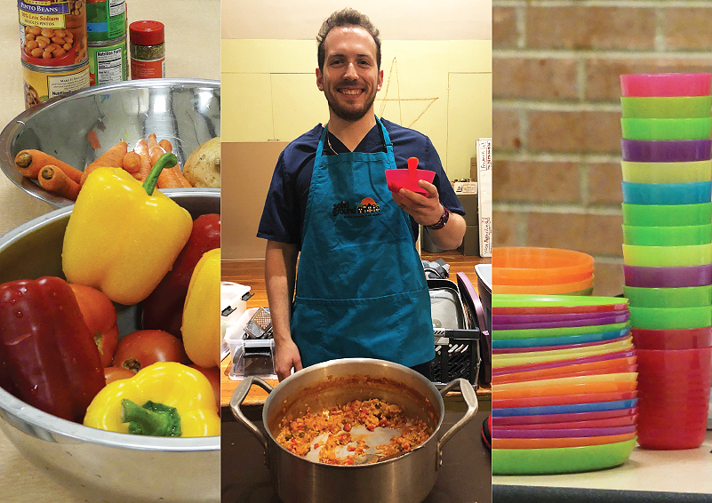 Three photos 1) multi-color bell peppers in an aluminum bowl with canned foods, 2) Volunteer in teal apron behind a big pot of food, 3) colorful stacks of plastic plates and cups with a brick wall behind