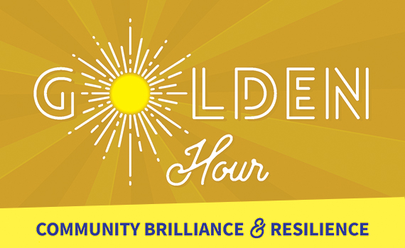 Golden Hour: COMMUNITY BRILLIANCE AND RESILIENCE event logo with a yellow, bronze, and orange sunburst and white and navy blue text