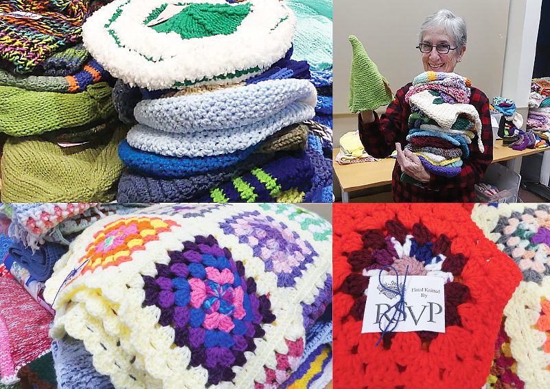 collage of colorful knitted items with a petite grey-haired lady, holding a huge stack of knitted items, in the upper right frame
