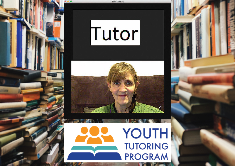 Mockup of a virtual Tutor on a screen, above the YOUTH TUTORING PROGRAM logo, with a photo of library book stacks in the background