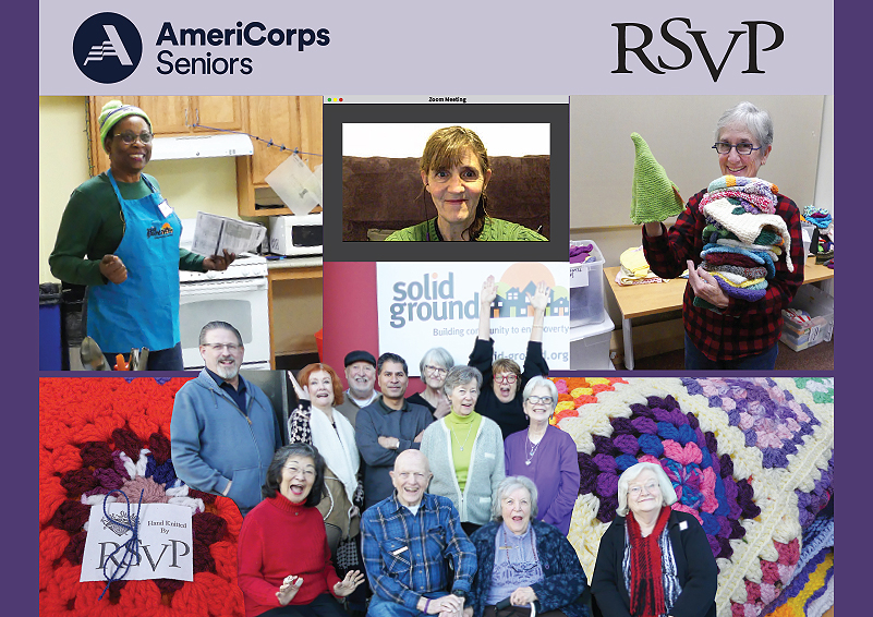 Collage of senior volunteer photos: Teaching a cooking class, virtual tutoring, holding knitted items, and posing for a fun picture. RSVP logo in black lettering and AmeriCorps Seniors logo in navy lettering.