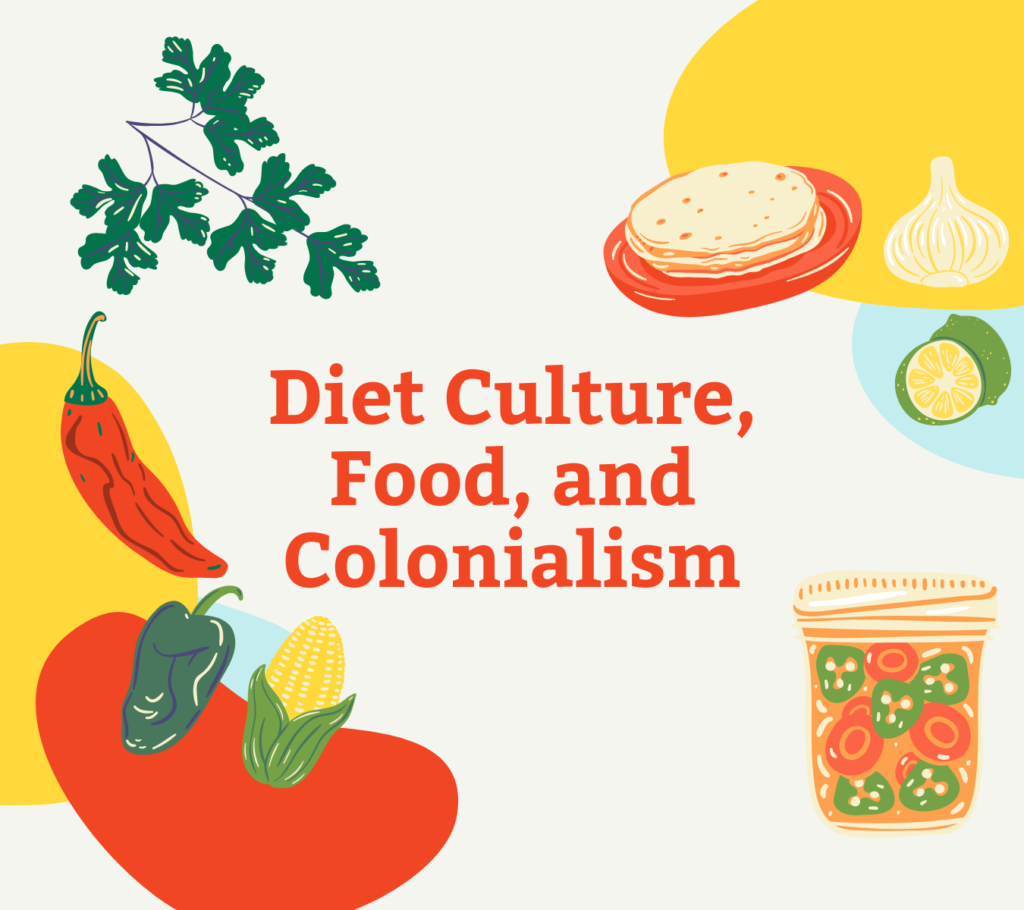 Graphic with colorful foods and red-orange text reading Diet Culture, Food, and Colonialism