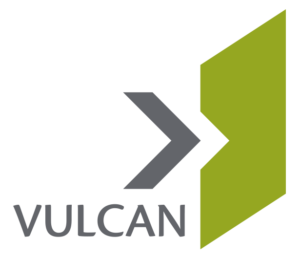 VULCAN logo with grey lettering and dark grey and olive green graphics