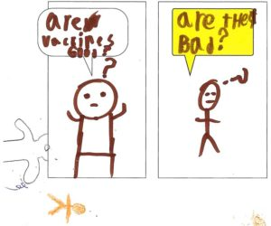 Youth drawing of two people commenting on the COVID-19 vaccine: 'Are vaccines good?' 'Are they bad?'