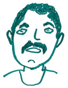 Youth drawing of a man with a mustache using green marker