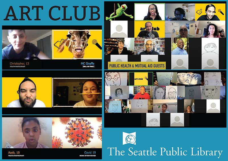 ART CLUB Collage of video screenshots and The Seattle Public Library logo in white on a blue background