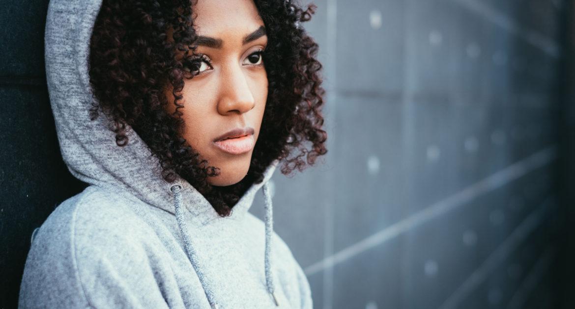 young woman in a hoodie