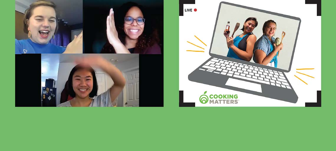 Collage of cooking instructors teaching virtual classes