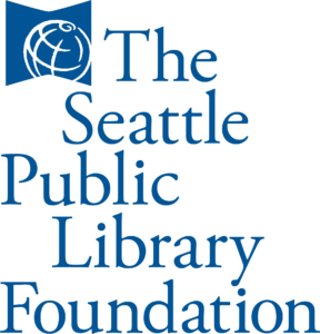 The Seattle Public Library Foundation logo with stacked, blue lettering