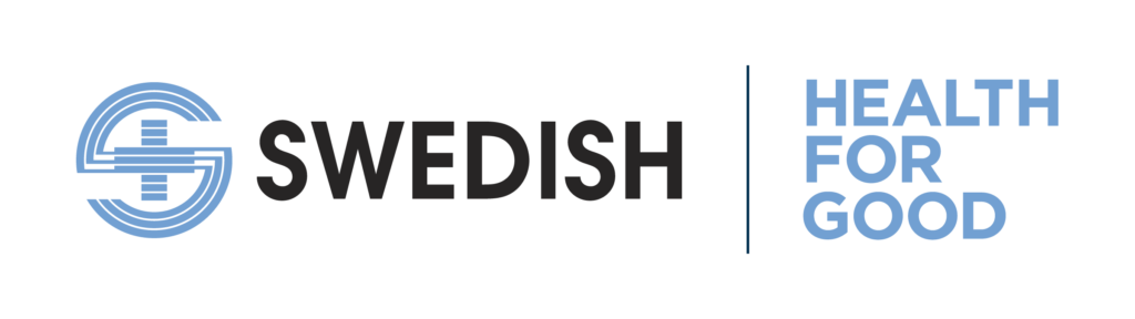SWEDISH HEALTH FOR GOOD logo, horizontal, blue and black lettering