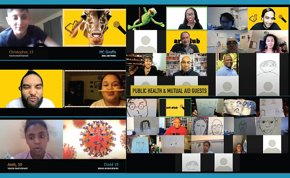 Collage of screenshots from a video depicting youth and teaching artists discussing COVID-19