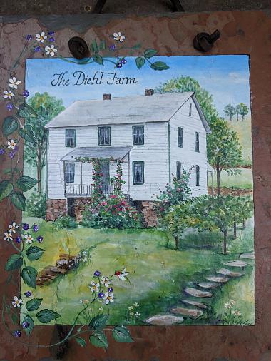A watercolor of a farmhouse reading The Diehl Farm.