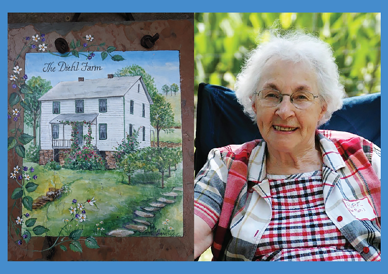 Two pictures, left side, a watercolor of a farmhouse reading The Diehl Farm; right side, an elderly woman with white hair and glasses, smiling