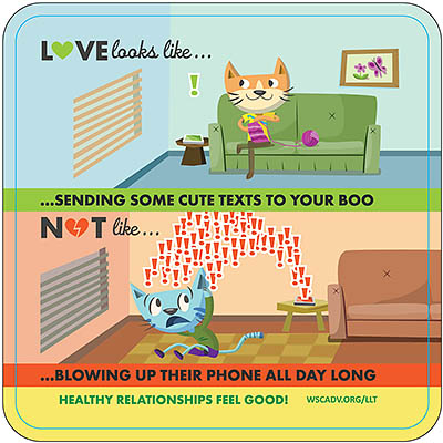 HEALTHY RELATIONSHIPS FEEL GOOD! 2-panel cartoon depicting two cats. It reads: LOVE looks like...sending some cute texts to your boo, NOT like...blowing up their phone all day long.