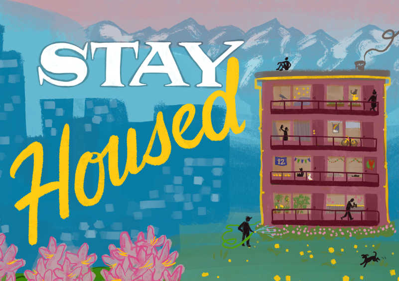 """A colorful banner reading """"Stay Housed"""""""