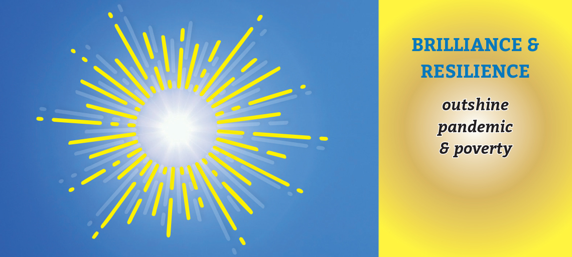 Graphic of two sunbursts, the left side white and gold on a brilliant blue background, the right side gold with the words BRILLIANCE & RESILIENCE outshine pandemic & poverty