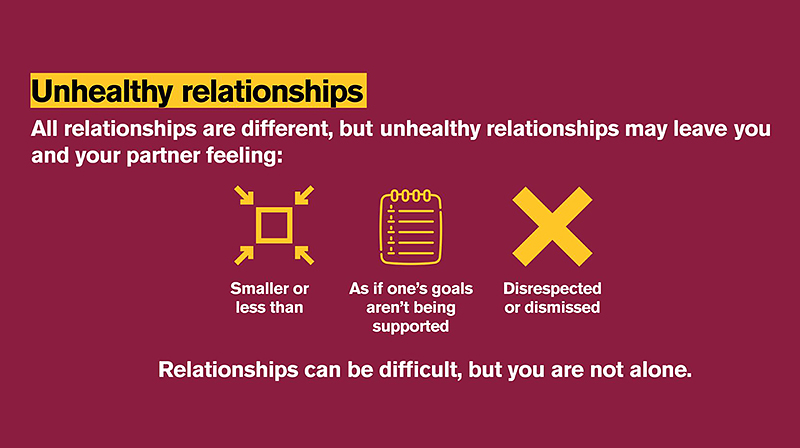 Maroon and gold infographic with black and white text explaining unhealthy relationships.