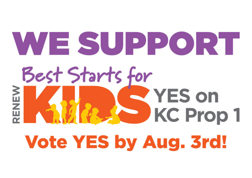 Logo for a King County ballot initiative in purple, orange, and black text that reads WE SUPPORT - RENEW Best Starts for KIDS - YES on KC Prop 1 - Vote YES by Aug. 3rd!