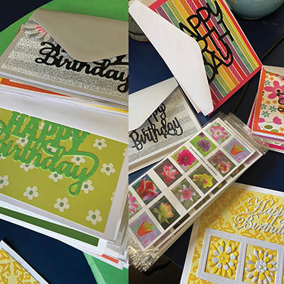 Colorful collection of greeting cards and stamps