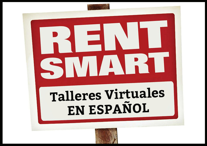 Red and white graphic with black border of sign reading RENT SMART Talleres Virtuales EN ESPAÑOL.