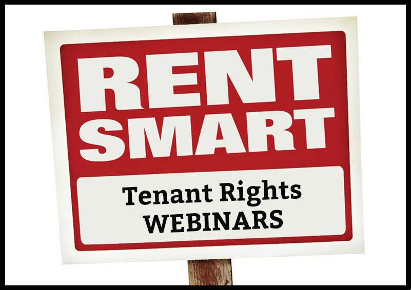 Red and white graphic with black border of sign reading RENT SMART Tenant Rights WEBINARS.