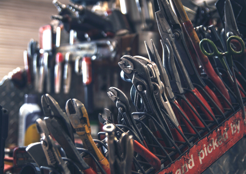 A collection of tools in an auto garage