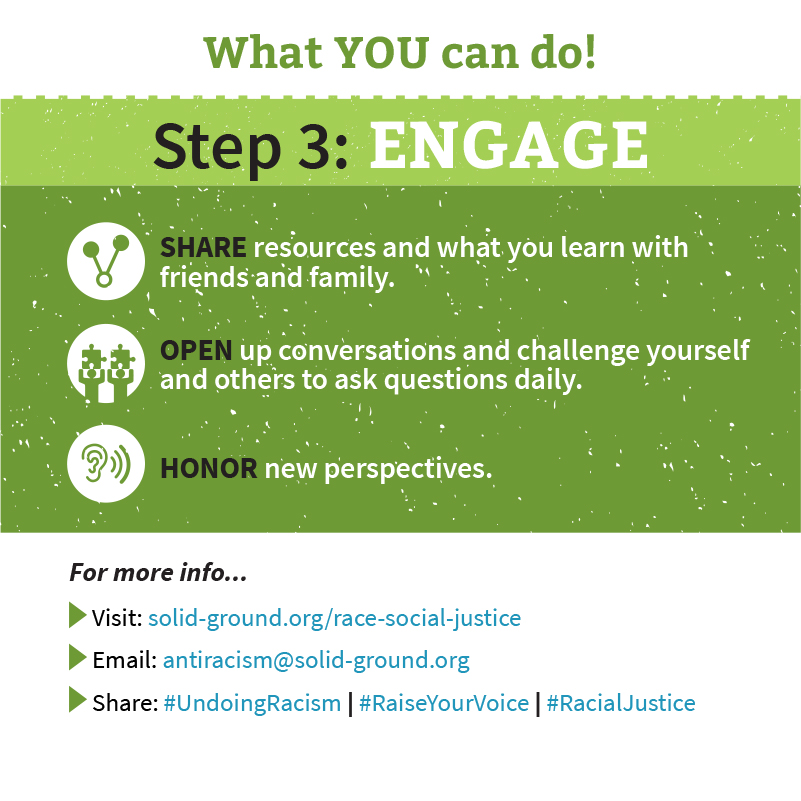 Square infographic with green and light green header backgrounds reading: What YOU can do! Step 3: ENGAGE