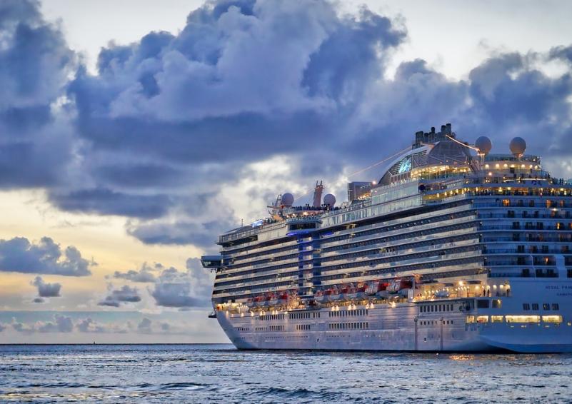 A cruise ship at dusk.