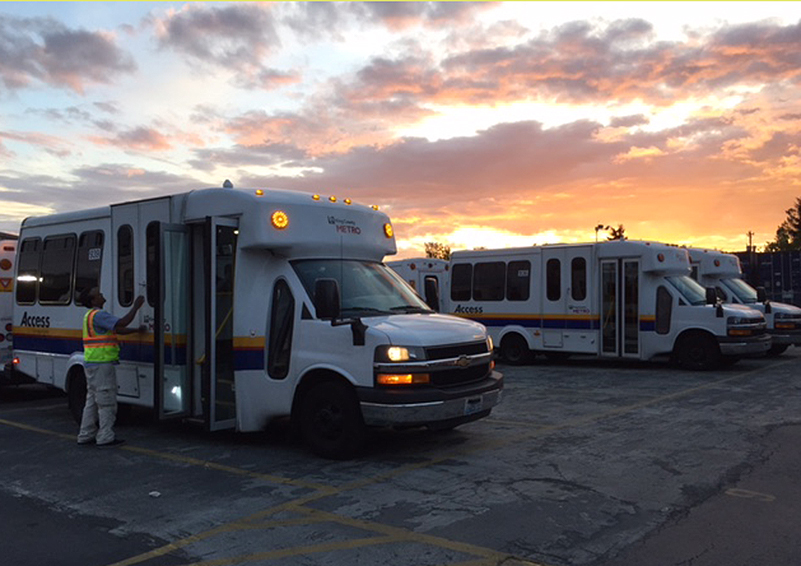 Paratransit vehicles with the beginning of a sunrise in the background