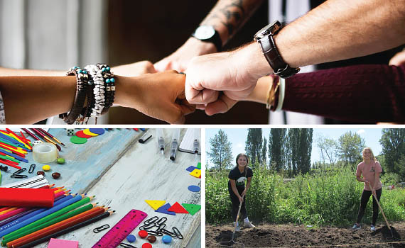 collage of 3 pictures: people fist bumping, colorful school supplies, and two teen girls raking a garden plot