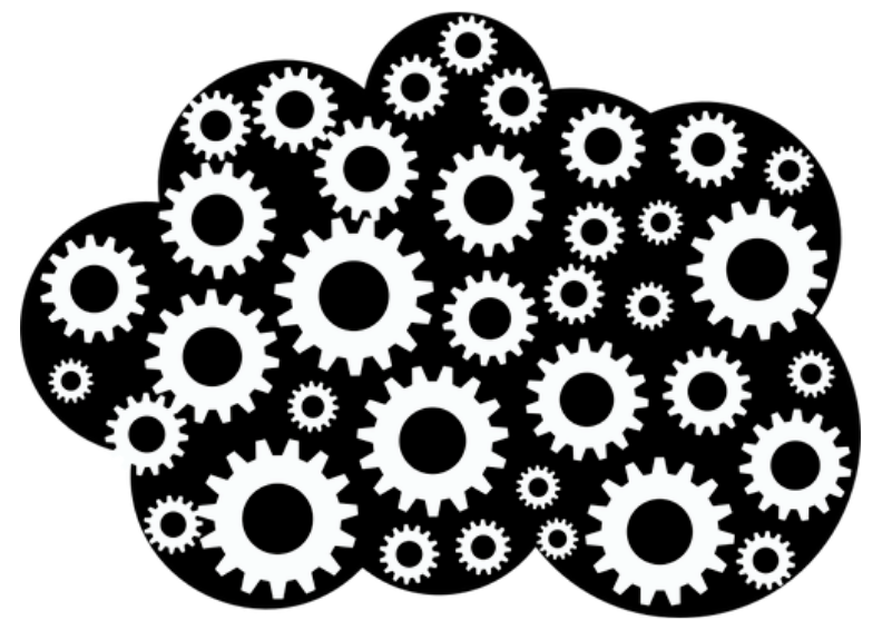 A collection of gears that together form the shape of a cloud