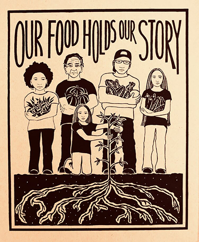 Black and white drawing of 5 people of various ages and ethnicities growing vegetables, with the label OUR FOOD HOLDS OUR STORY