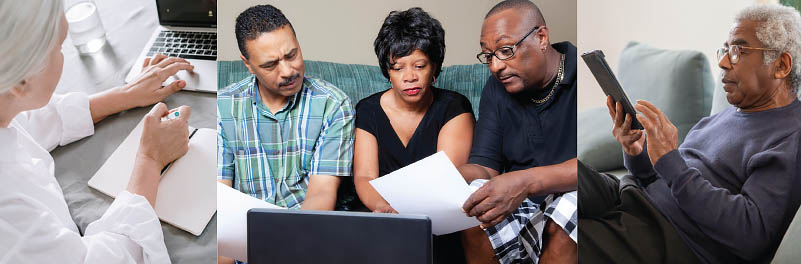 Three images: 1) elderly woman with white hair at a laptop, 2) two middle-aged men and a woman on a couch, looking at papers, in front of a laptop, 3) profile of older man at a tablet on a couch