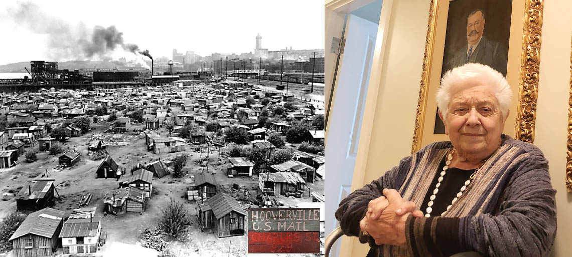 Collage of a black and white photo of Seattle's Hooverville shantytown and an elderly white woman seated in front of a portrait