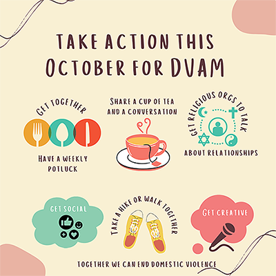 Infographic on ways to TAKE ACTION THIS OCTOBER FOR DVAM.